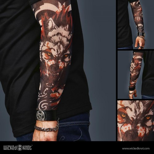 A Set of 2  Tattoo Sleeves - AC DC and Wolf