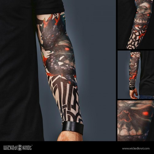 A Set of 2  Tattoo Sleeves - Tiger and Skull