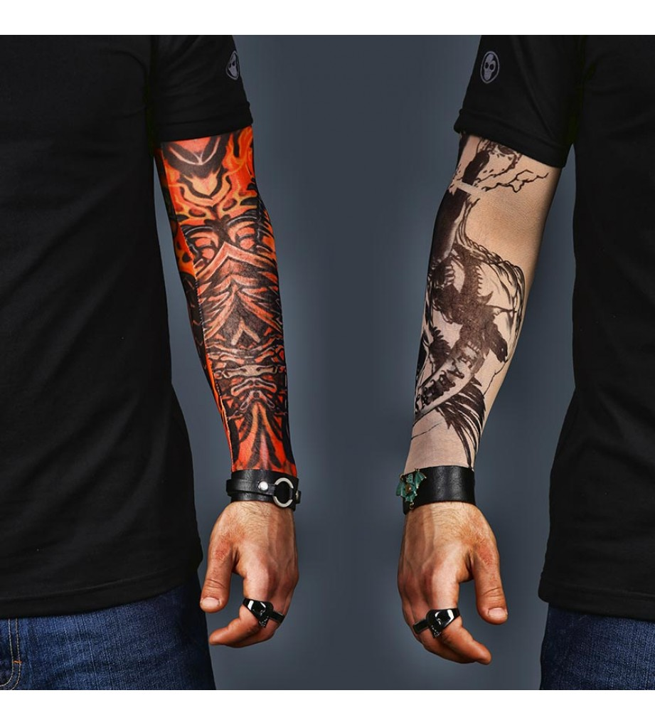 A Set of 2  Tattoo Sleeves - Skull and abstract