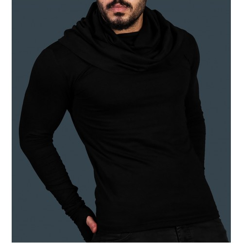 Black Avant Garde Built in Scarf Undershirt