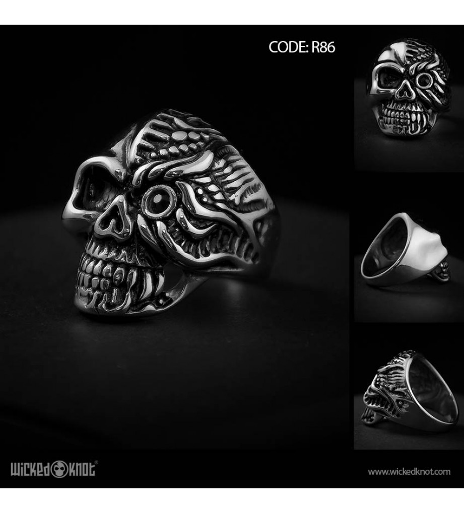 Cyborg Skull - Stainless Steel Ring