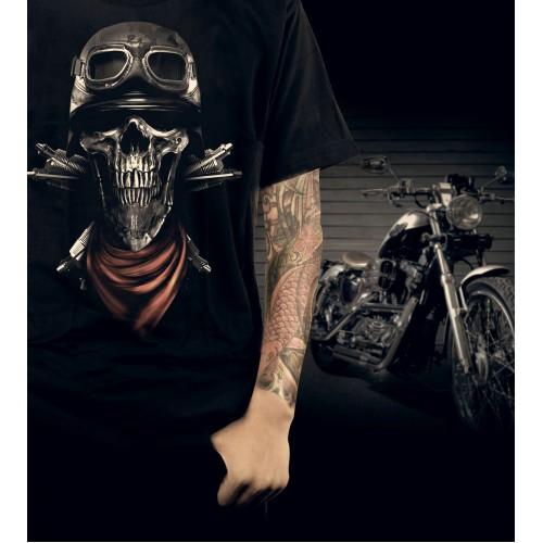 Red Scarf Biker Skull