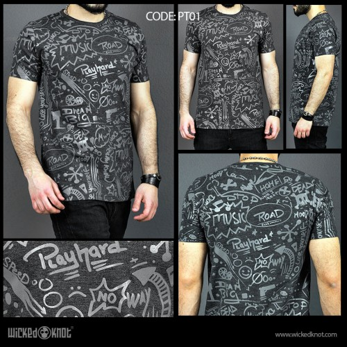 Deep Thinker - Charcoal-  Pattern  Printed  T-Shirt