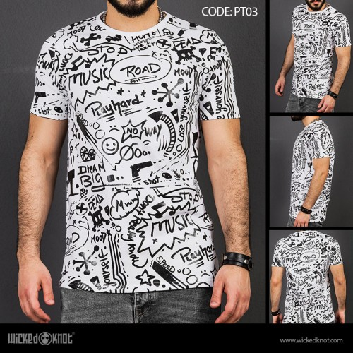 Deep Thinker - White -  Pattern  Printed  T-Shirt