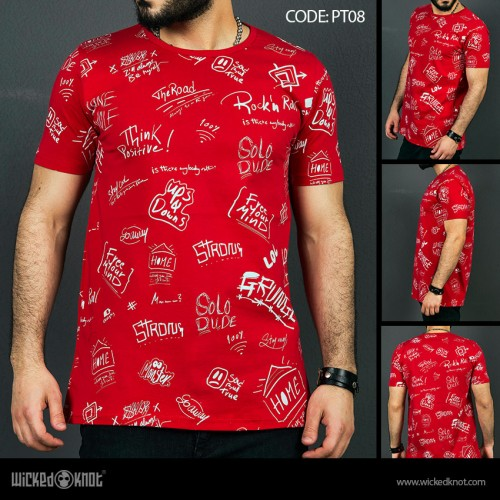 Deep Thinker - Red-  Pattern  Printed  T-Shirt