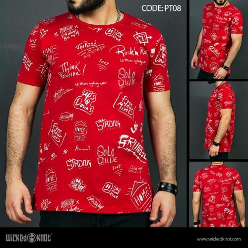Deep Thinker - Red-  Pattern  Printed  T-Shirt