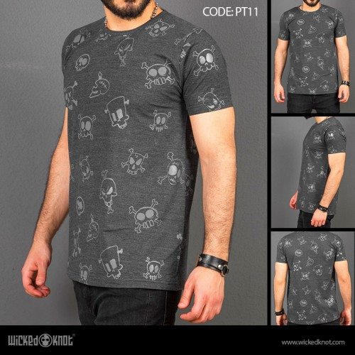 Skulls - Charcoal-  Pattern  Printed  T-Shirt