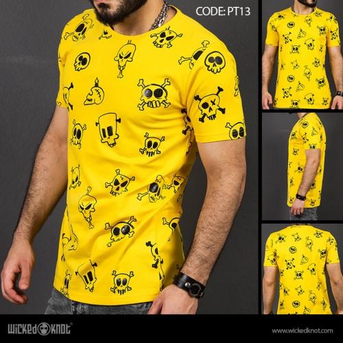 Skulls - Yellow -  Pattern  Printed  T-Shirt