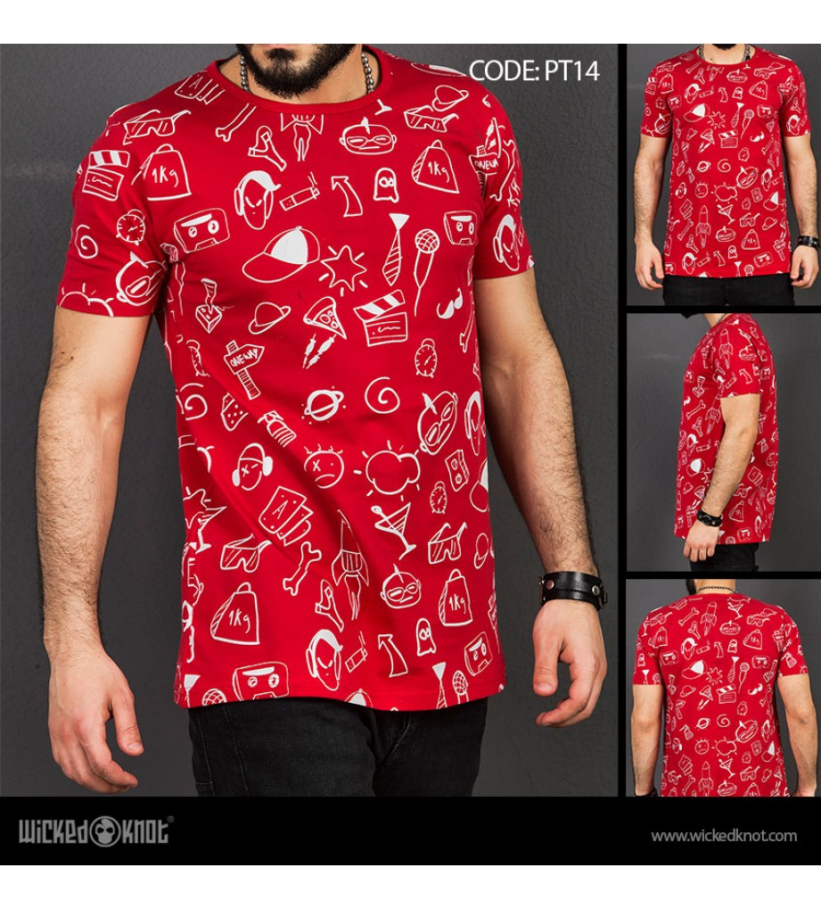 Summer Time - Red -  Pattern  Printed  T-Shirt