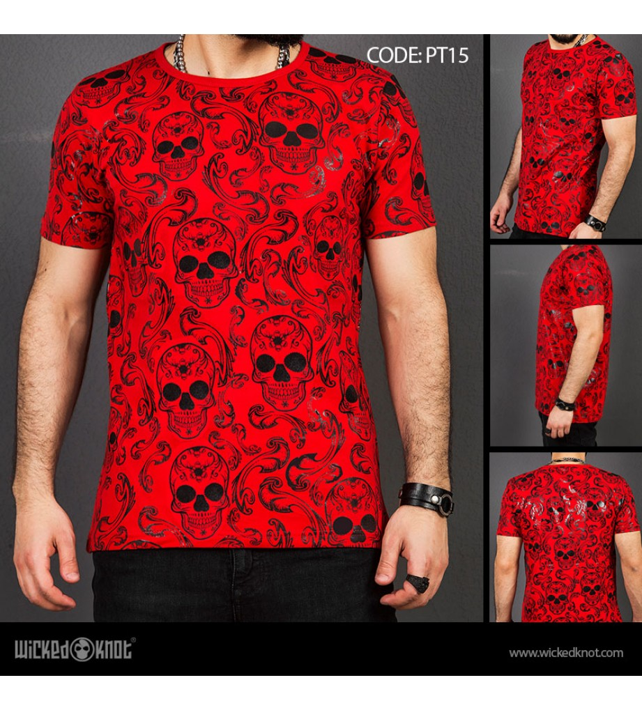Victorian  - Red -  Pattern  Printed  T-Shirt